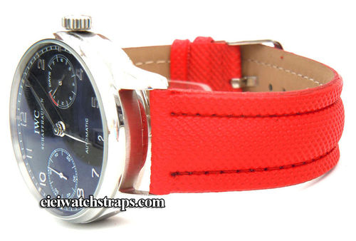 Red Polyurethane Waterproof Watchstrap For IWC Portuguese