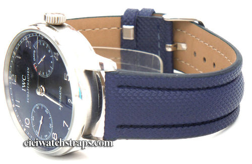 Navy Blue Polyurethane Waterproof Watchstrap For IWC Portuguese