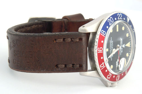 Geneva Handmade Vintage Style Ammo Leather Watchstrap For Rolex Watches