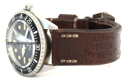 Geneva Handmade Vintage Style Ammo Leather Watchstrap For Steinhart Watches