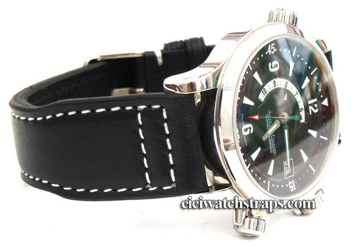 Aviator 22mm Black Calf Leather watchstrap For Jaeger LeCoultre Watches