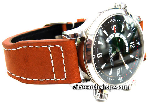 Aviator 22mm Tan Calf Leather watchstrap For Jaeger LeCoultre Watches