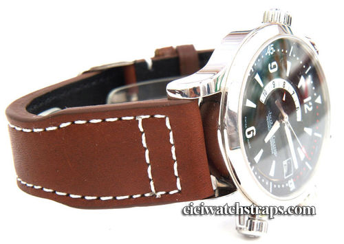 Aviator 22mm Brown Calf Leather watchstrap For Jaeger LeCoultre Watches