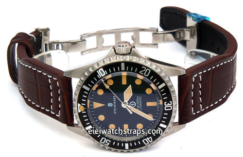 Aviator 22mm Dark Brown Alligator watch strap on Deployment Clasp For Steinhart Watches