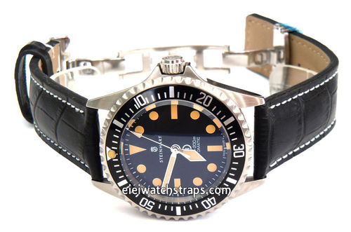 Black Alligator Grain Padded Leather Watchstrap on Deployment Clasp For Steinhart Watches