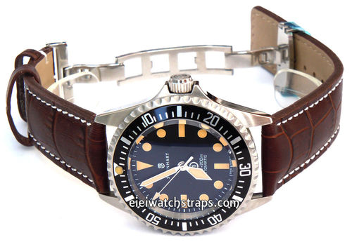 Dark Brown Alligator Grain Padded Leather Watchstrap on Deployment Clasp For Steinhart Watches