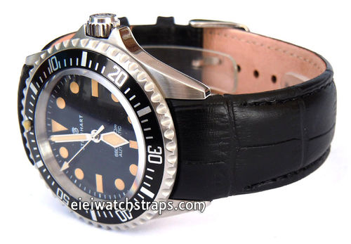 Black Crocodile Curved lug Ended Watchstrap Deployment Clasp For Steinhart Watches