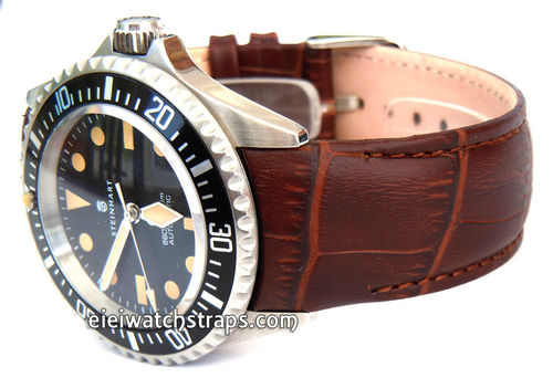 Brown Crocodile Curved lug Ended Watchstrap Deployment Clasp For Steinhart Watches