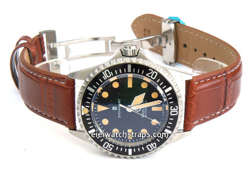Brown Crocodile Watchstrap White Stitched on butterfly deployant clasp For Steinhart Watches