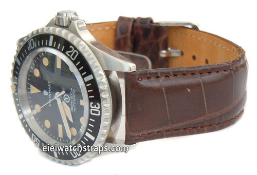 22mm Crocodile Oval Grain Leather Watchstrap For
