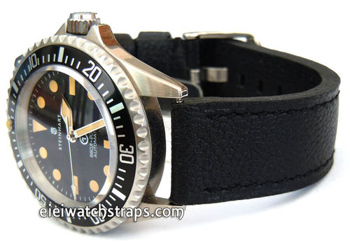 Double Thickness Cut Edge Black Leather Watch strap For Steinhart Ocean Vintage Military