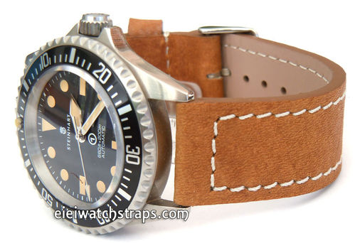 Double Thickness Cut Edge Saddle Brown Leather Watch strap For Steinhart Ocean Vintage Military