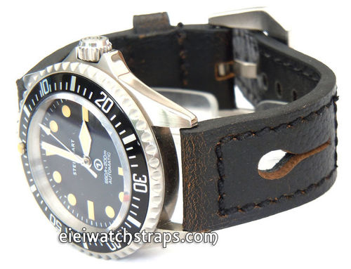 22mm Gray Leather watch strap For Steinhart Ocean Vintage Military