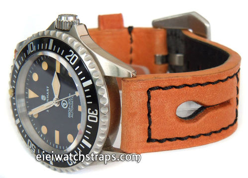 22mm Tan Thick Leather watchstrap For Steinhart Ocean Vintage Military