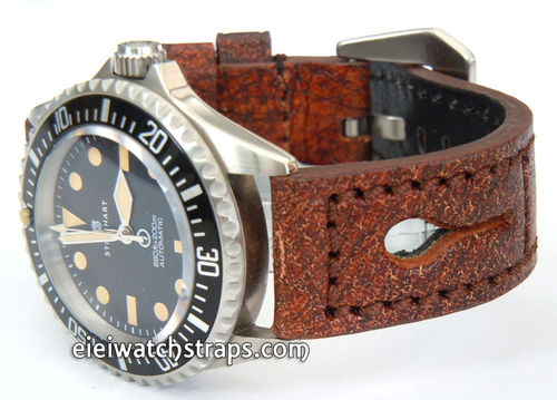 22mm Thick Leather watchstrap For Steinhart Ocean Vintage Military