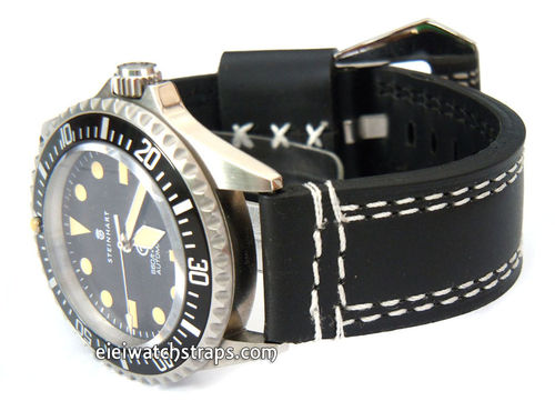YiPan 22mm Black Leather watchstrap White Stitched For Steinhart Ocean Vintage Military