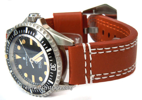 YiPan 22mm Brown Leather watchstrap White Stitched For Steinhart Ocean Vintage Military