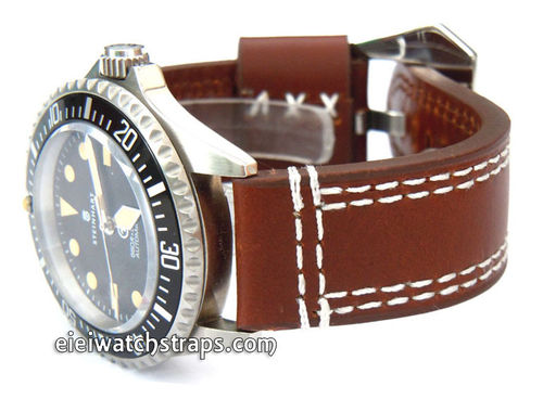 YiPan 22mm Dark Brown Leather watchstrap White Stitched For Steinhart Ocean Vintage Military