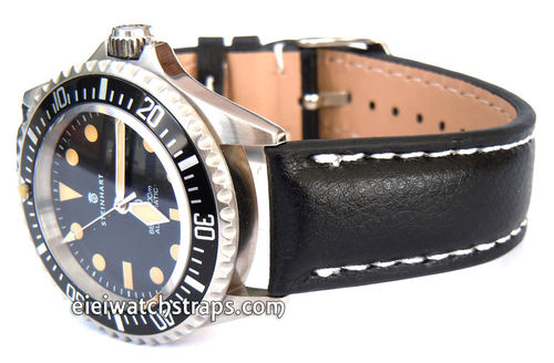Black Leather Watchstrap White Stitched For Steinhart Ocean Vintage Military
