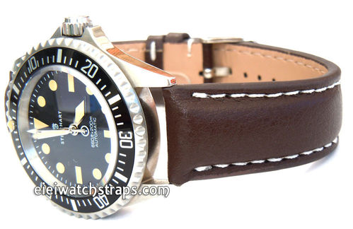 Brown Leather Watchstrap White Stitched For Steinhart Ocean Vintage Military