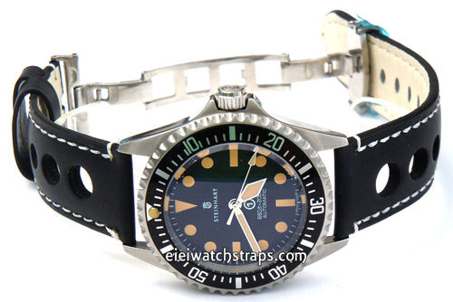 Grand Prix Black Leather Watch strap on Deployment Clasp For Steinhart Ocean Vintage Military