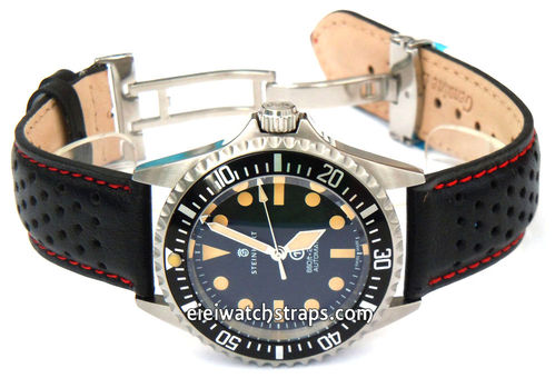 Rally Perforated Red stitched Black Leather Watchstrap For Steinhart Ocean Vintage Military
