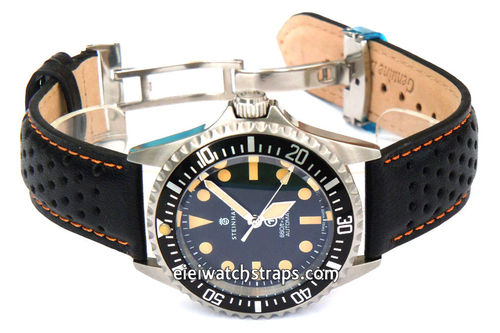 Rally Perforated Orange Stitched Black Leather Watchstrap For Steinhart Ocean Vintage Military