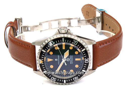 Brown Leather Watchstrap on Butterfly Deployant Clasp For Steinhart Ocean Vintage Military