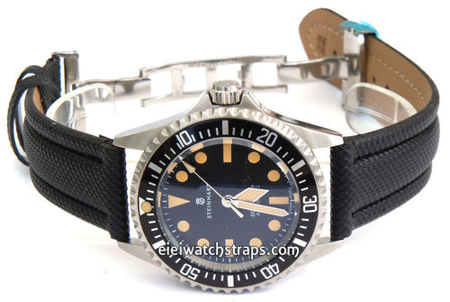 Polyurethane Black Waterproof Watch Strap For Steinhart Ocean Vintage Military