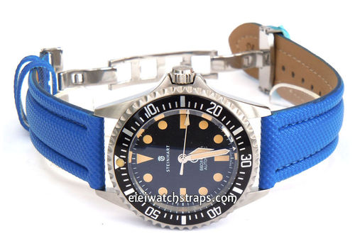 Polyurethane Blue Waterproof Watch Strap For Steinhart Ocean Vintage Military