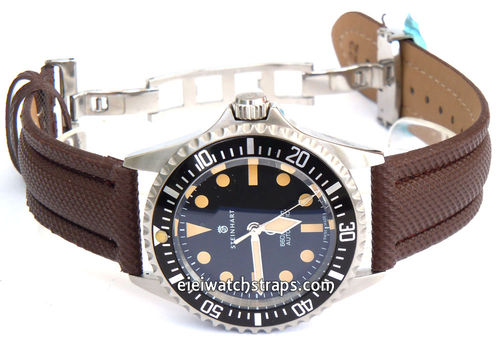 Polyurethane Brown Waterproof Watch Strap For Steinhart Ocean Vintage Military