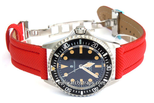 Polyurethane Red Waterproof Watch Strap For Steinhart Ocean Vintage Military