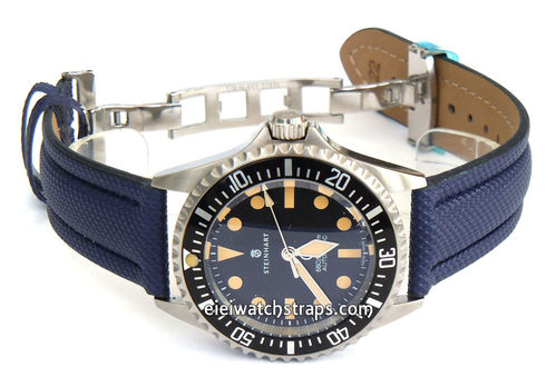 Polyurethane Navy Blue Waterproof watchstrap For Steinhart Ocean Vintage Military