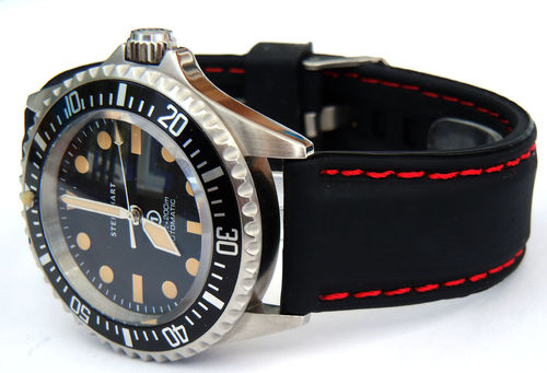 Silicon Rubber Watch Strap With Stitching On Stainless Steel Deployment For Steinhart Watches