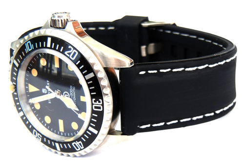 Silicon Rubber Watch Strap White Stitching On Stainless Steel Deployment For Steinhart Watches