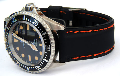 Silicon Rubber Watch Strap With Orange Stitching On Stainless Steel Deployment For Steinhart Watches
