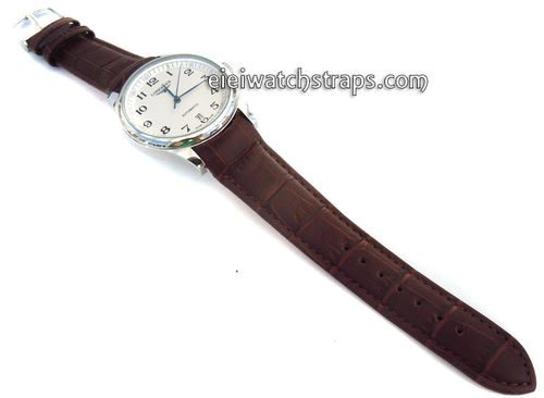 Brown Crocodile Cur ved lug Ended Watch Strap For Longines Watches