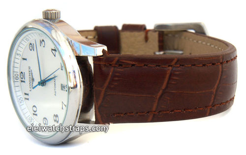 Classic Dark Brown Crocodile Grain Leather Watch Strap For Longines Watches