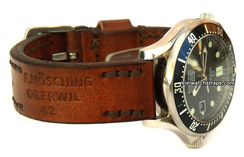 Brooklands Hand Made Vintage style Ammo Leather watch strap For Omega Seamaster Professional