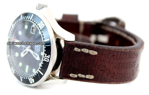 Geneva Hand Made Vintage style Ammo Leather watch strap For Omega Seamaster Professional