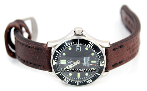 Potter Hand Made Vintage style Ammo Leather watch strap For Omega Seamaster Professional