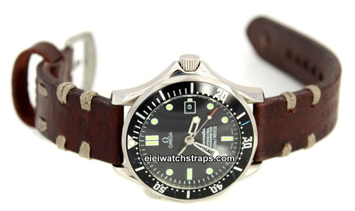 Basel Hand Made Vintage style Ammo Leather watch strap For Omega Seamaster Professional