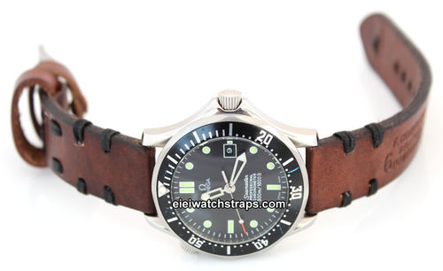 Dom Hand Made Vintage style Ammo Leather watch strap For Omega Seamaster Professional