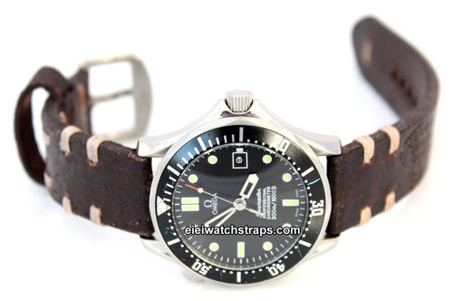 Cuyg Hand Made Vintage style Ammo Leather watch strap For Omega Seamaster Professional