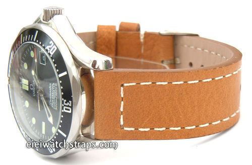 Double Thickness Cut Edge Saddle Brown Leather Watch Strap For Omega Seamaster professional