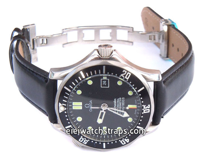 leather watch strap on butterfly deployant clasp for omega seamaster professional On omega leather strap