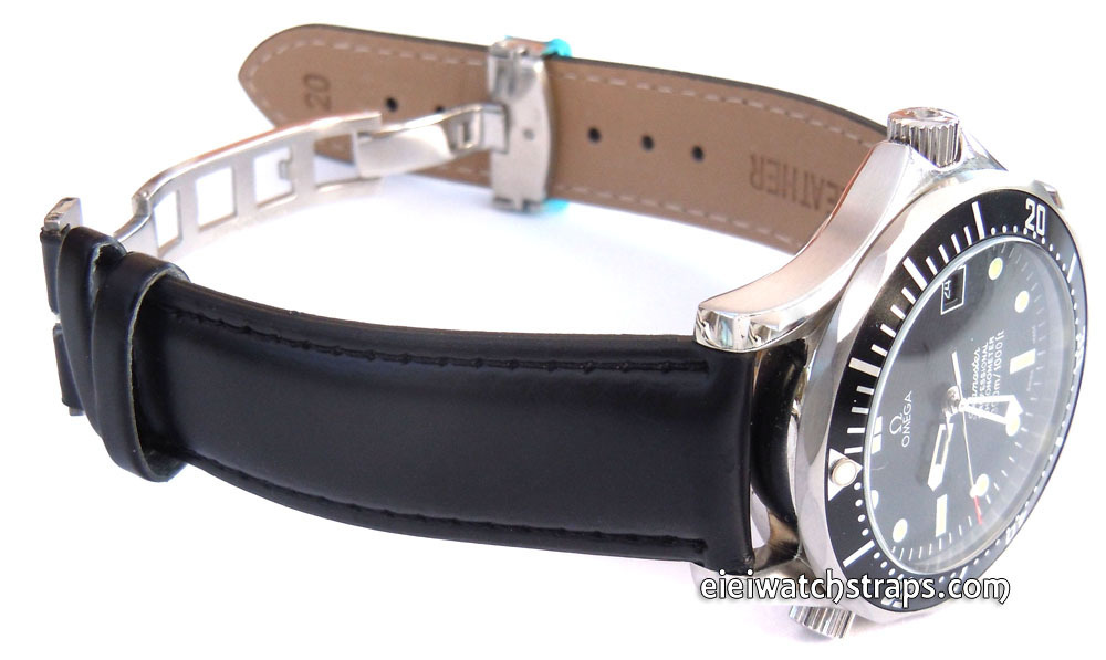 leather watch strap on butterfly deployant clasp for omega
