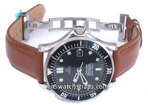 Brown Leather Watch strap on butterfly deployant clasp For Omega Seamaster professional
