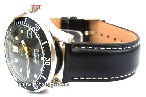 Black Leather Watch Strap White Stitched For Omega Seamaster professional