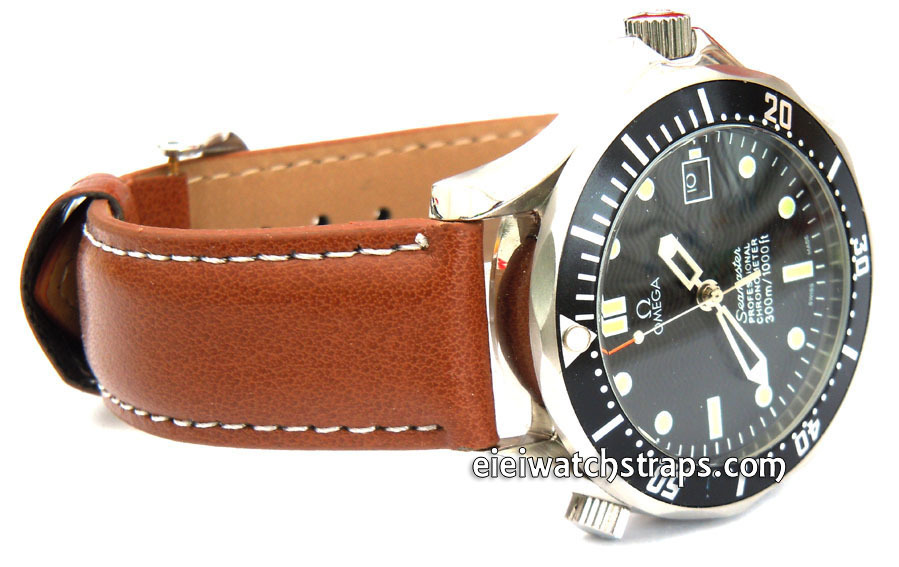 Brown Leather Watch Strap White